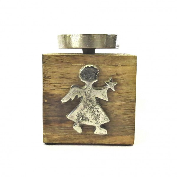 Kerzenständer Teelichthalter Engel Holz Metall Weihnachten Deko MyLo Kollektion 12,5 cm